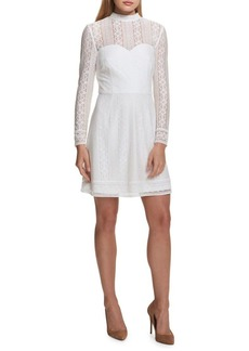 Kensie Dresses Lace Illusion-Sleeve Dress