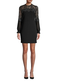 Kensie Dresses Metallic Lace Shift Dress
