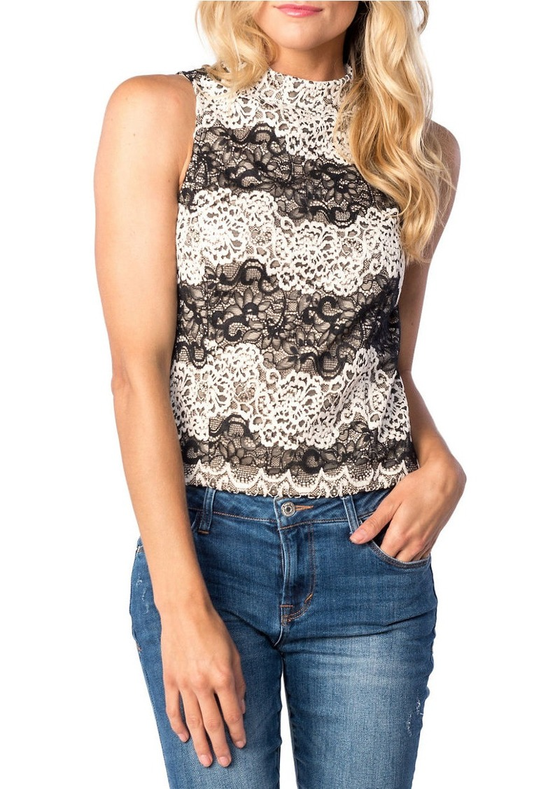 KENSIE Embroidered Lace Top