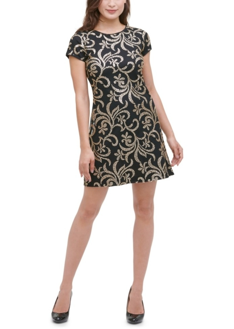 kensie Embroidered-Sequin Dress