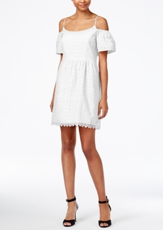 kensie Eyelet Cold-Shoulder Dress