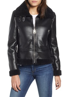 kensie Faux Leather Moto Jacket with Faux Shearling Trim