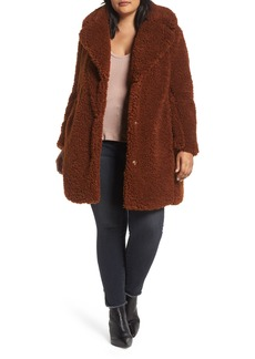 kensie Faux Shearling Coat (Plus Size)