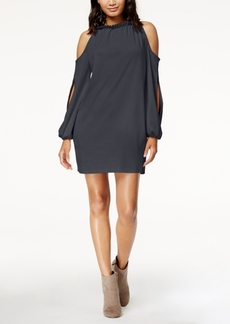 kensie Faux-Suede Cold-Shoulder Shift Dress
