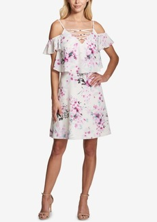 kensie Floral Cold-Shoulder Popover Dress