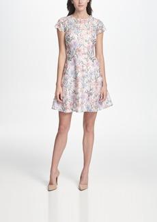kensie Floral-Lace A-Line Dress