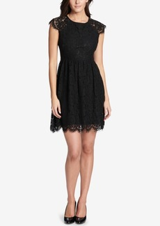kensie Floral Lace Fit & Flare Dress