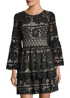 kensie Floral Lace Fit & Flare Mini Dress
