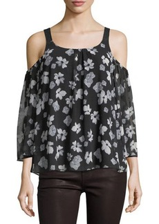 kensie Floral-Print Chiffon Cold-Shoulder Top