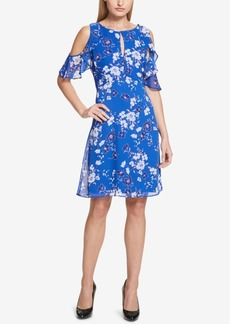 kensie Floral-Print Cold-Shoulder Dress