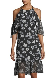 kensie Floral-Print Halter-Neck A-Line Dress