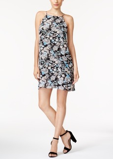 kensie Floral-Print Lace-Inset Dress