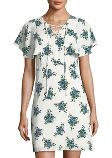 kensie Floral-Print Lace-Up Flounce-Sleeve Mini Dress