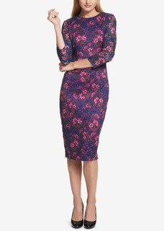 kensie Floral-Print Peekaboo Lace Dress
