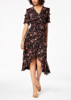 kensie Floral-Print Ruffled Wrap Midi Dress, Created for Macy's, Created for Macy's