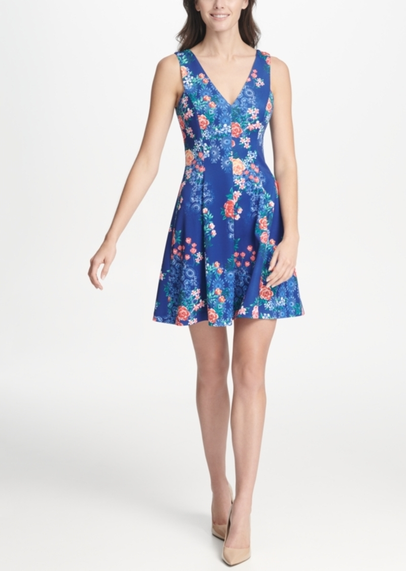 kensie Floral Printed Scuba Fit and Flare Dress