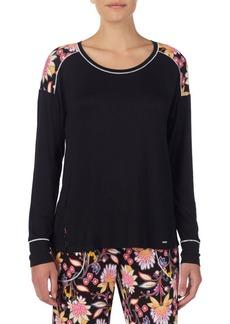 Kensie Floral-Trimmed Long-Sleeve Pajama Top