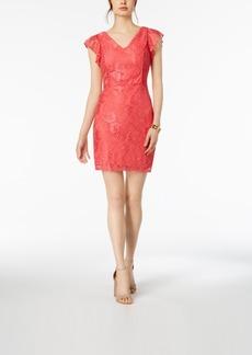 kensie Flutter-Sleeve Lace Sheath Dress