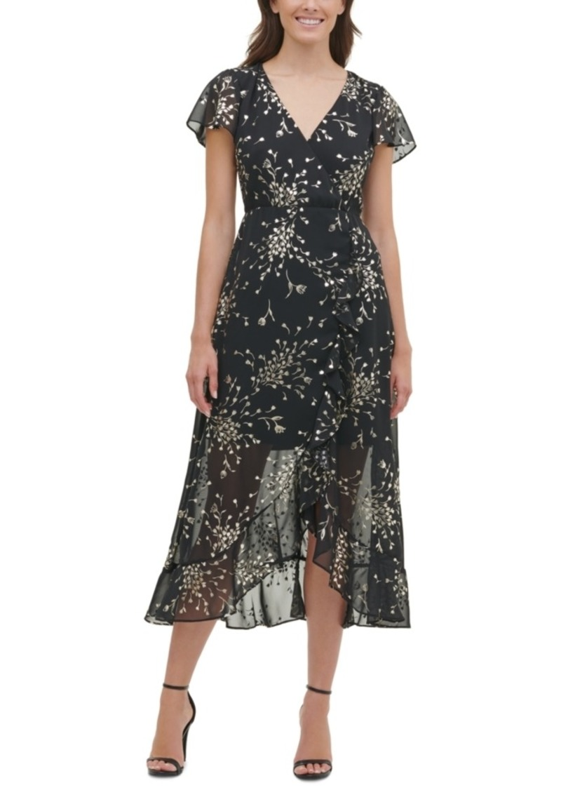 kensie Foil-Print Chiffon High-Low Maxi Dress