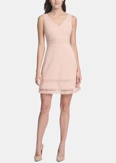 kensie Fringe-Trim A-Line Dress