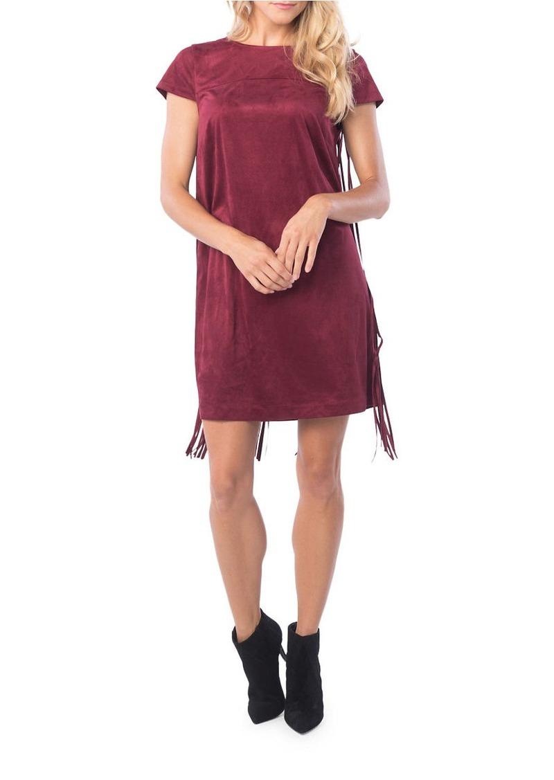 KENSIE Fringed Faux Suede Shift Dress