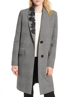 kensie Glen Plaid Lace Trim Coat