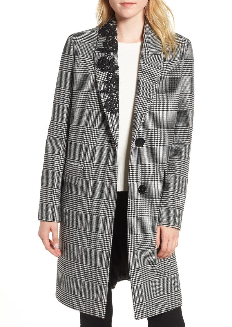 kensie Glen Plaid Lace Trim Coat
