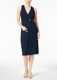 kensie Grommet-Detail Wrap Dress