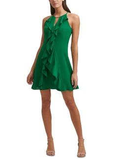 kensie Halter-Neck Ruffle Dress