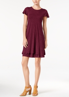 kensie Heathered Tiered-Hem Dress