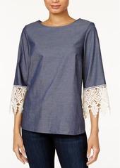 kensie High-Low Crochet-Trim Top