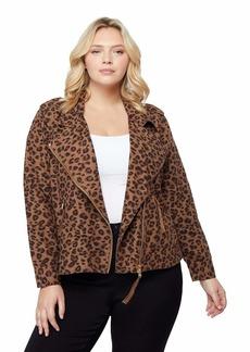 Kensie Jeans Leopard Printed Moto Jacket Size 1X
