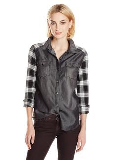Kensie Jeans Women's Plaid Denim Mix Shirt