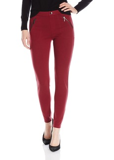 kensie Jeans Women's Ponte Dual Front Zipper Pant  S