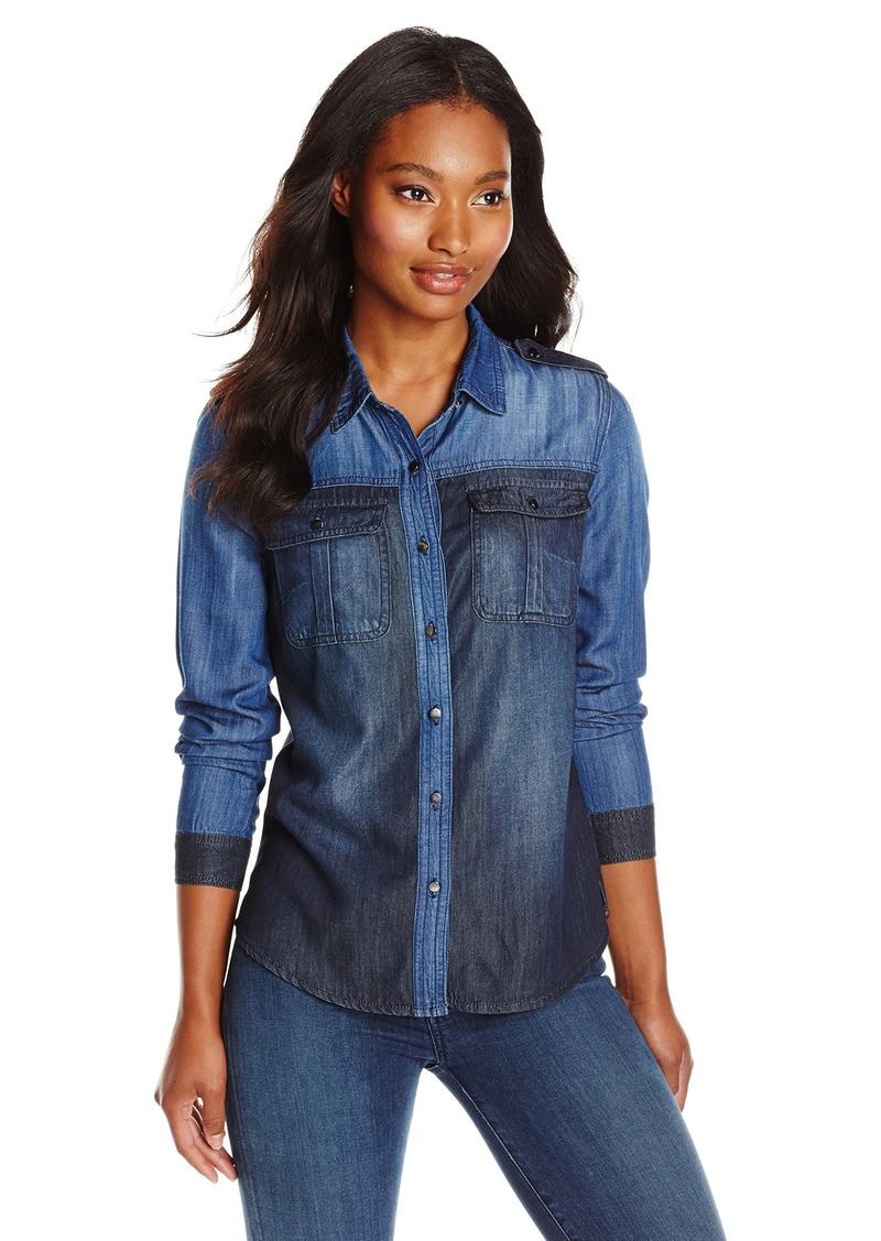 kensie Jeans Women's Utility Colorblocked Denim Shirt