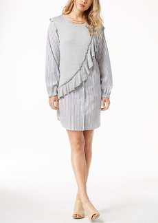kensie Knit Ruffle Striped Shirtdress