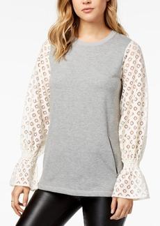 kensie Lace-Contrast Fleece Sweater