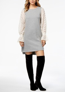 kensie Lace-Contrast Sweater Dress