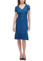 kensie Lace Flounce Midi Dress