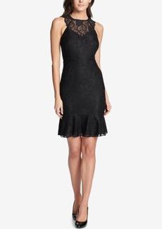 kensie Lace Ruffle-Hem Dress