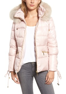 kensie Lace Sleeve Puffer Coat with Faux Fur Trim Hood