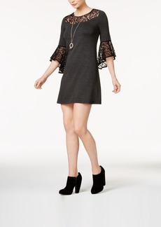 kensie Lace-Trim A-Line Dress