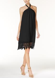 kensie Lace-Trim Halter Dress