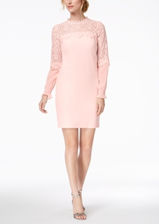 kensie Lace-Trim Mock-Neck Sheath Dress
