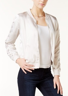 kensie Lace-Up Bomber Jacket