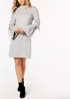 kensie Lace-Up Ponte-Knit Dress