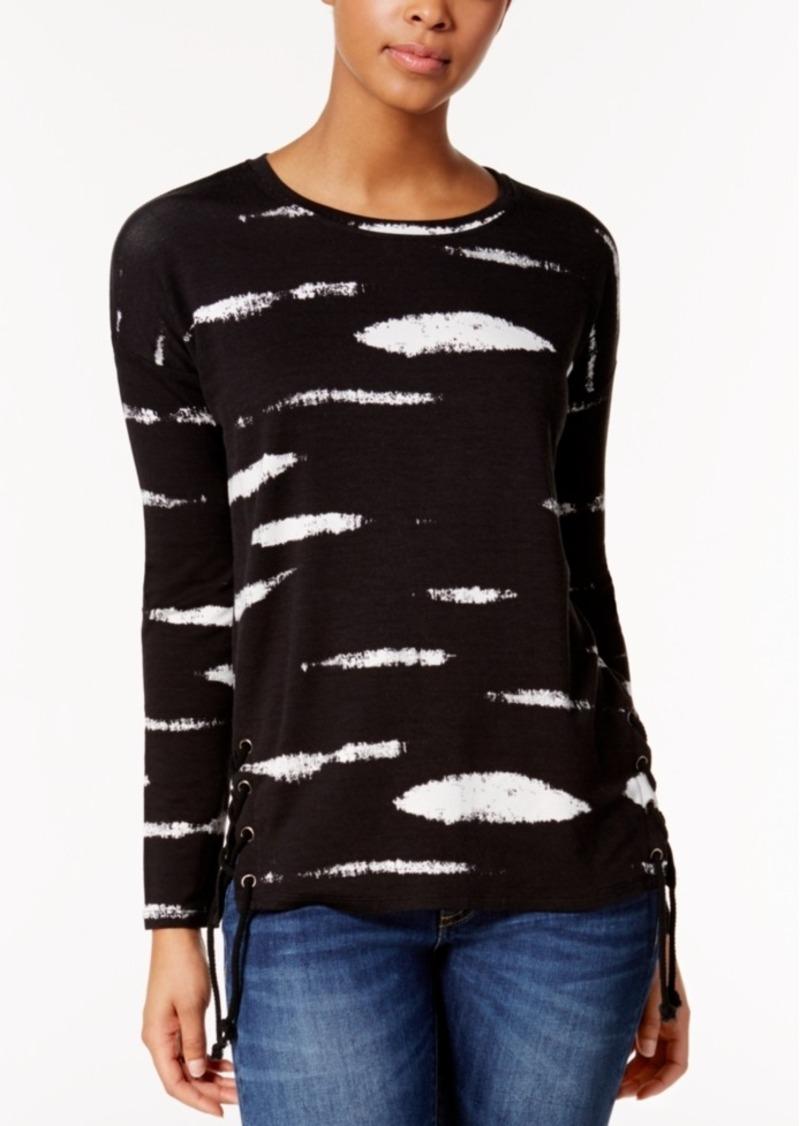kensie Lace-Up Printed Sweater
