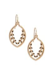 Kensie Leaf-Accented Drop Earrings