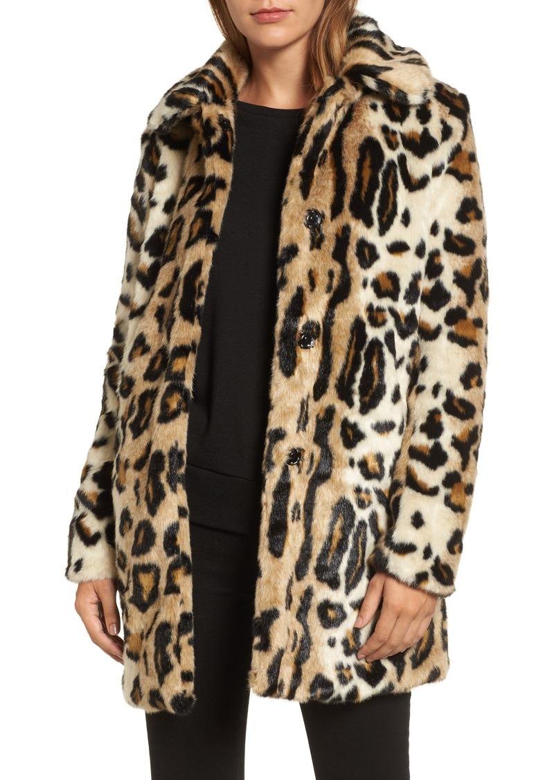 Kensie Kensie Leopard Spot Reversible Faux Fur Coat ...