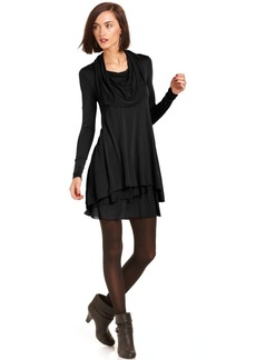 kensie Long-Sleeve Cowl-Neck T-Shirt Dress